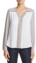 T Tahari Leslie Embellished Color Block Top