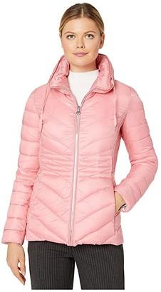 Bernardo Fashions EcoPlume Packable Chevron Puffer Jacket (Brandied Apricot Pink) Women's Jacket