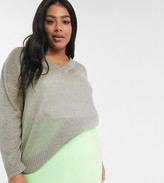 Brave Soul Plus V neck sweater in crystal gray