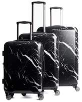 CalPak Astyll 3-Piece Marbled Luggage Set - Black