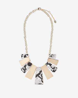 Express Snakeskin Print Metal Panel Statement Necklace