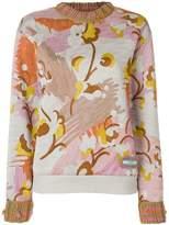 Prada floral chunky knit trim jumper