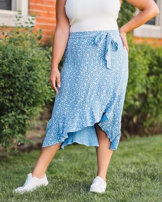 The Drop Women's Blue Floral Ruffled Hem Midi Skirt by @caralynmirand M