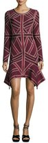Herve Leger Handkerchief-Hem Long-Sleeve Bandage Dress, Vamp/Combo