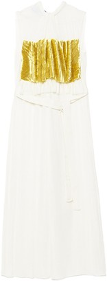Prada Velvet Detail Pleated Sleeveless Dress