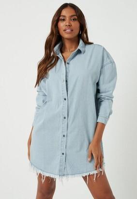 Missguided Stonewash Oversized Denim Shirt Dress