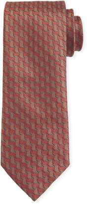Canali Men's Contemporary Braid Silk Tie, Rust