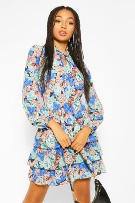 boohoo Floral Tie Neck Smock Dress