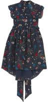 Balenciaga Baby Doll Plastron Floral-print Silk Crepe De Chine Mini Dress - Navy