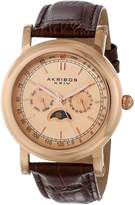 Akribos XXIV Men's AK632RG Retro Multifunction Rose-Tone Stainless Steel Brown Leather Strap Watch