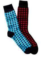 Jared Lang Gingham Crew Sock - Pack of 2