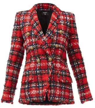 Balmain Double-breasted Tartan Tweed Blazer - Red Multi