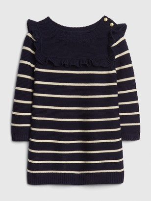 Gap Baby Stripe Ruffle Sweater Dress