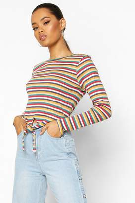 boohoo Striped Ribbed Long Sleeve Knot Front Top