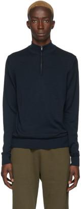Sunspel Navy Merino Wool Half-Zip Sweater