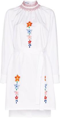 Prada Floral-Embroidered Shirt Dress