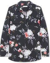 Equipment Slim Signature Floral-print Washed-silk Shirt - Charcoal