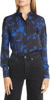 Equipment Garland Floral Print Long Sleeve Silk Shirt