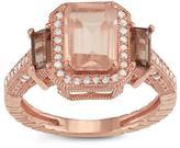 Tiara 2 3/8 CT TW Pink Quartz and Diamond 10K Rose Gold Vintage Inspired Halo Ring
