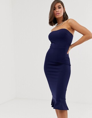 Club L London bandeau fishtail midi dress-Navy