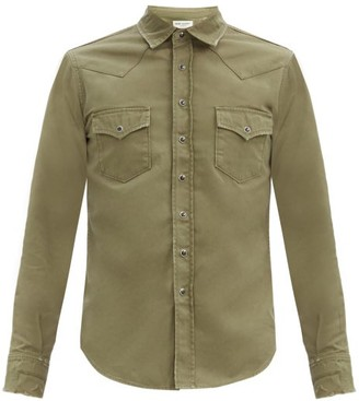 Saint Laurent Flap-pocket Cotton-twill Shirt - Beige