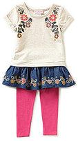 Flapdoodles Little Girls 2T-6X Boho Floral Dress & Leggings Set