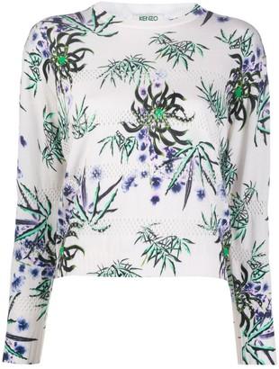 Kenzo Floral-Print Eyelet-Knit Top