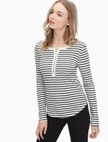 Splendid Black Venice Stripe Long Sleeve Henley