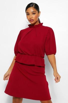 boohoo Plus Peplum Puff Sleeve High Neck Skater Dress