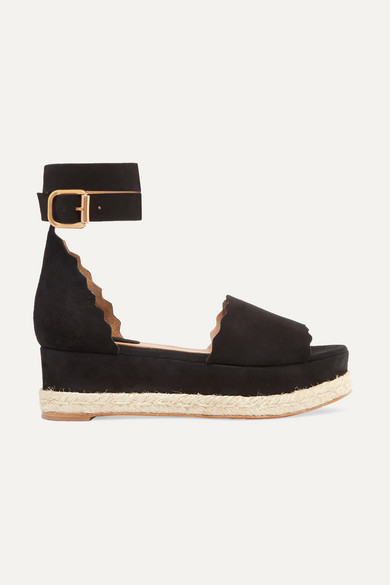 Chloé Lauren Scalloped Suede Espadrille Platform Sandals - Black