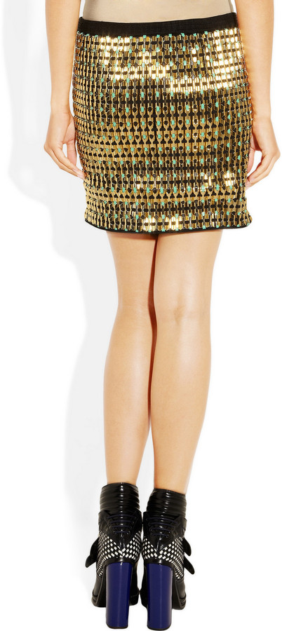 Proenza Schouler Embellished jersey mini skirt