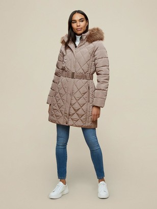 Dorothy Perkins Diamond Quilt Long LengthCoat - Mushroom