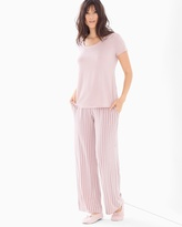 Soma Intimates Cool Nights Short Sleeve Pajama Set Savvy Stripe Vintage Pink
