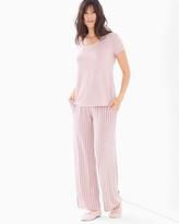 Soma Intimates Short Sleeve Pajama Set Savvy Stripe Vintage Pink TL
