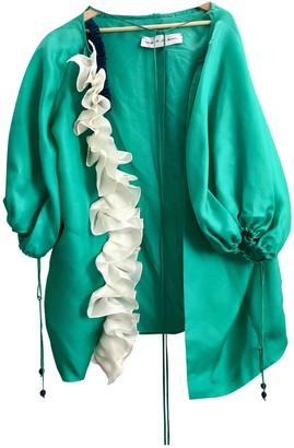 Emilio De La Morena Green Silk Coat for Women