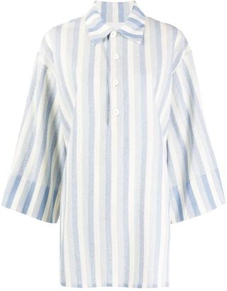 Jil Sander Striped Oversized Polo Top