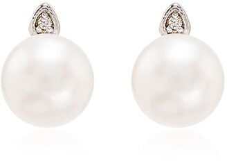Mateo 14kt Gold Pearl Diamond Earrings