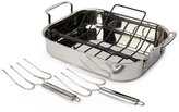 Calphalon Tri-Ply Stainless Steel Roaster with Nonstick Rack & Lifters