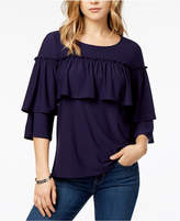 Kensie 3/4-Sleeve Ruffled Top