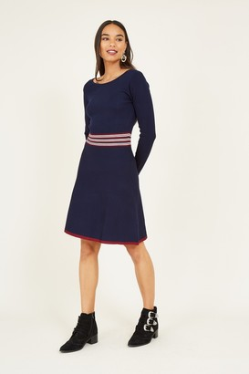 Yumi Navy Stripe Knitted Skater Dress