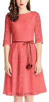 Grapent Women's Lace Overlay A-line 3/4 Sleeves Bridal Short Dress US