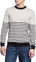 BOSS Men's Striped Crewneck Cotton Sweater