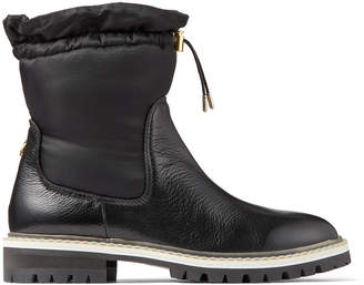 Jimmy Choo BAO FLAT Black Leather and Padded Nylon Winter Boots with Toggle