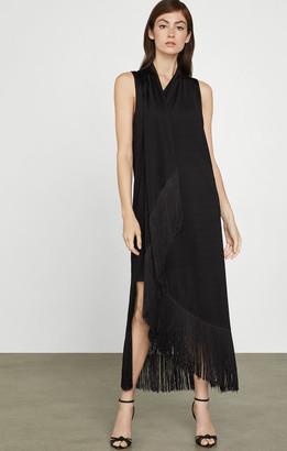 BCBGMAXAZRIA Asymmetric Fringe Dress