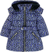 Jean Bourget Printed padded coat with a false fur lining
