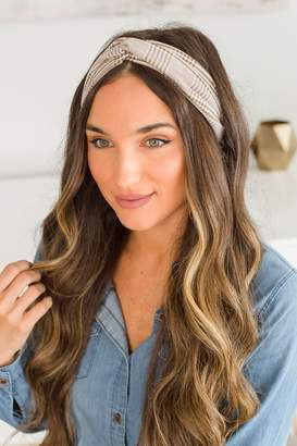 The Mint Julep Boutique More Than Love Brown Corporate Plaid Headband