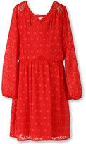 Speechless Long-Sleeve Orange Textured Chiffon Peasant Dress - Girls Plus