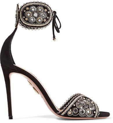 Aquazzura Jaipur Embellished Suede Sandals - Black