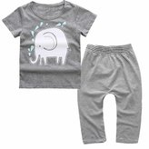Mary ye 2 Pieces Infant Baby Boys Short Sleeve Striped Elephant Shirt Pants
