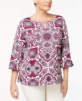 Charter Club Plus Size Keyhole Top, Created for Macy's